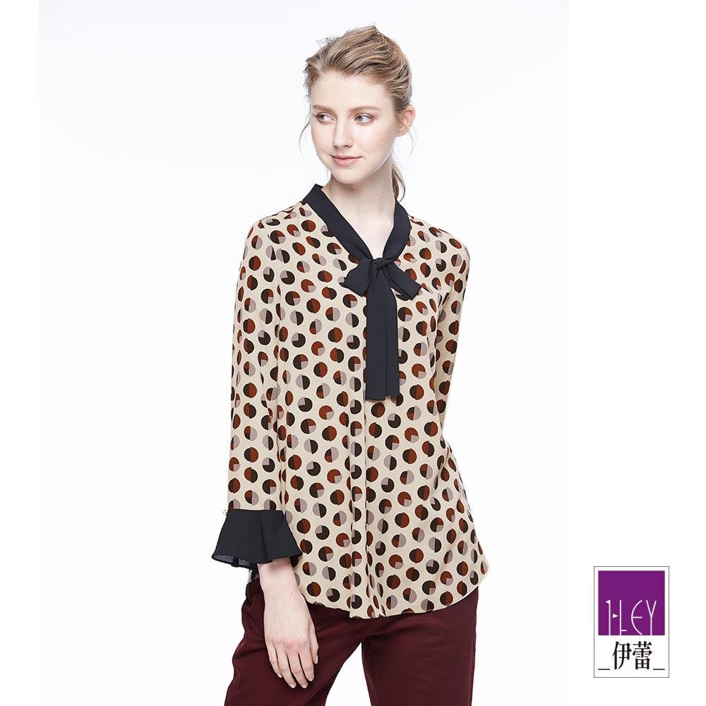 ILEY伊蕾 幾何印花繫領上衣魅力價商品(可)