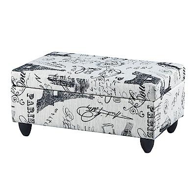 品家居 諾法皮革圖騰收納長椅凳(二款可選)-76x44x32cm-免組