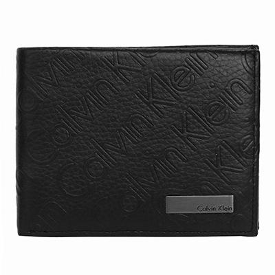 Calvin Klein黑色logo烙印荔枝紋皮革雙摺短夾