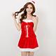 聖誕服 歡樂聖誕派對性感細肩帶洋裝(紅F)