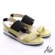 A.S.O 玩美涼夏 真皮鬆緊帶楔型涼鞋 黃綠 product thumbnail 1