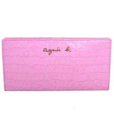 agnes b. 鱷魚紋皮革壓扣長夾-嫩粉色