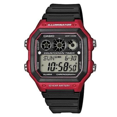 CASIO 10年電力亮眼設計方形數位錶(AE-1300WH-4A)紅框x黑錶圈/42mm