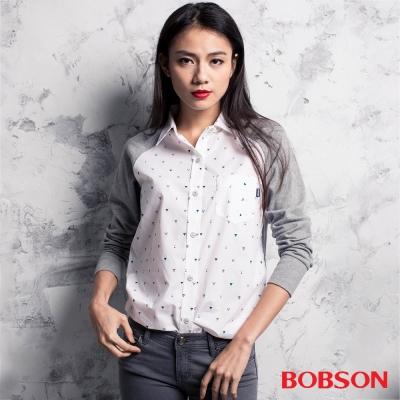 BOBSON  女款異素材襯衫-灰白