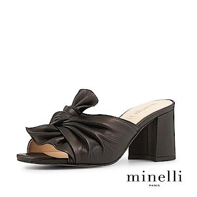 Minelli--巴西製造 全真皮抓皺扭結魚口粗高跟涼鞋-個性黑