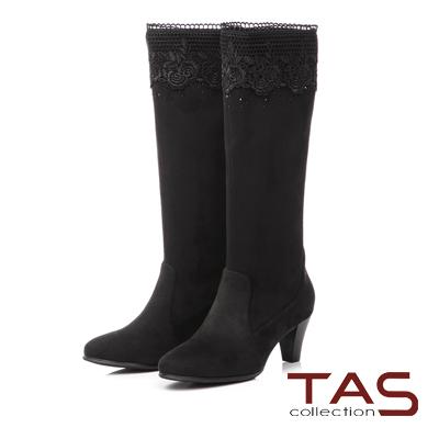 TAS 玫瑰針織蕾絲燙鑽高跟長靴-奢華黑