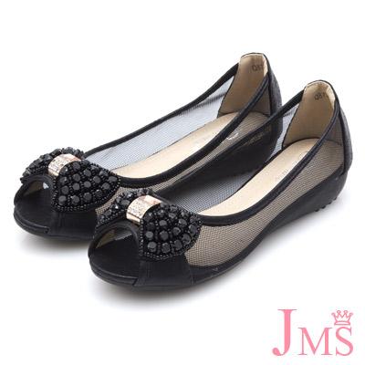 JMS-甜美網紗造型手工串珠搭鑽蝴蝶結魚口鞋-黑色