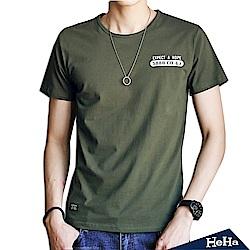 棉質彈性美式風短袖T恤 三色-HeHa