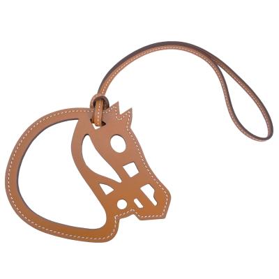 HERMES Paddock Cheval Veau Swift 馬頭雙色鏤空吊飾(焦糖)