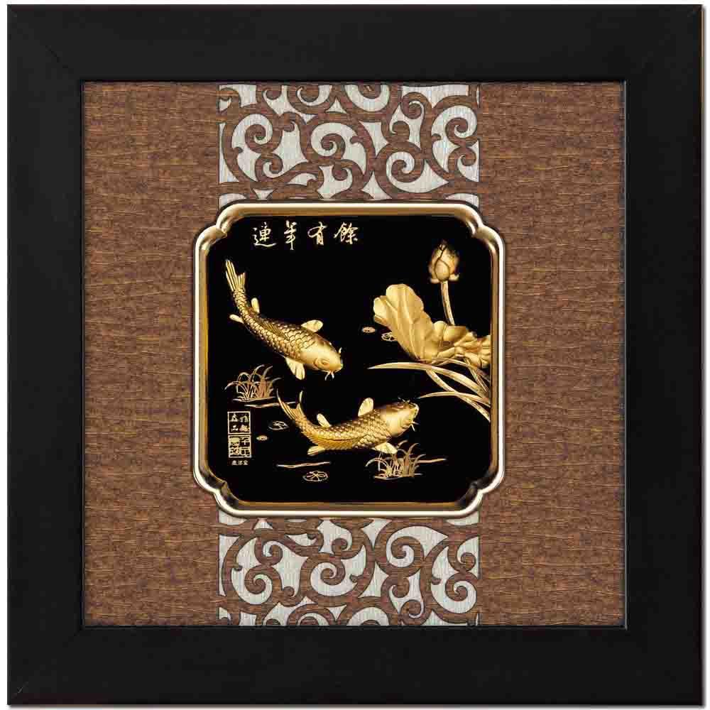 鹿港窯-立體金箔畫-連年有餘(框畫系列24.5x24.5cm)