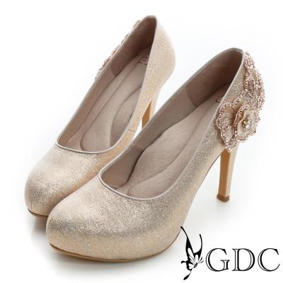 GDC幸福-花朵造型水鑽珠光真皮高跟鞋(婚鞋)-香檳色