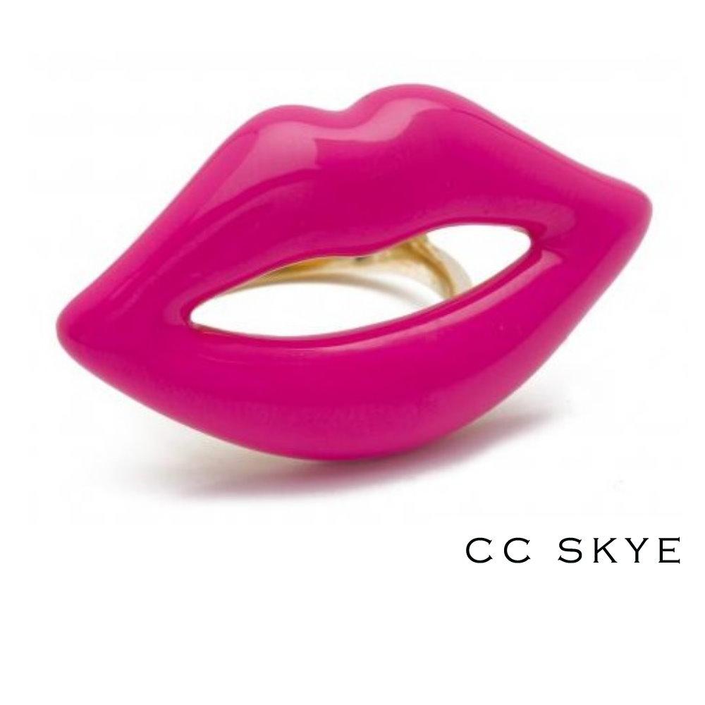 CC SKYE KISS ME LIPS螢光桃紅嘴唇金戒指