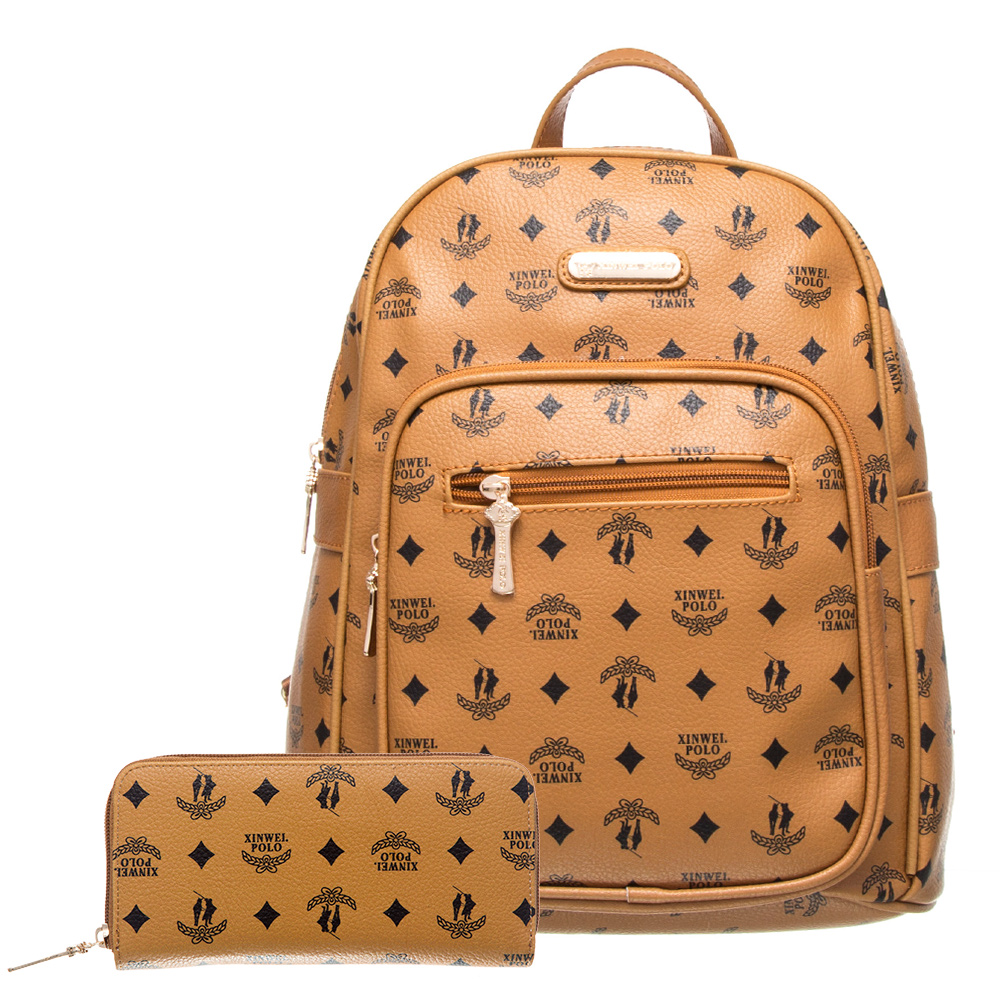 【XINWEI POLO】奢華LOGO風大容量後背包+皮夾(141031)-棕色