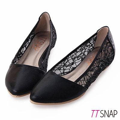 TTSNAP內增高-MIT小尖頭蕾絲亮片網紗平底鞋-黑