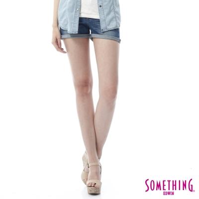 SOMETHING NEO鋸齒壓線反折短褲-女-拔洗藍