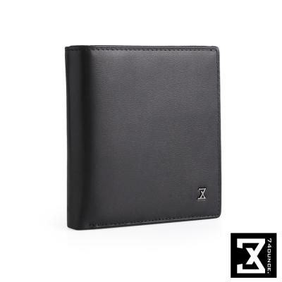 74盎司 Plain 真皮側拉零錢短夾[N-544]黑