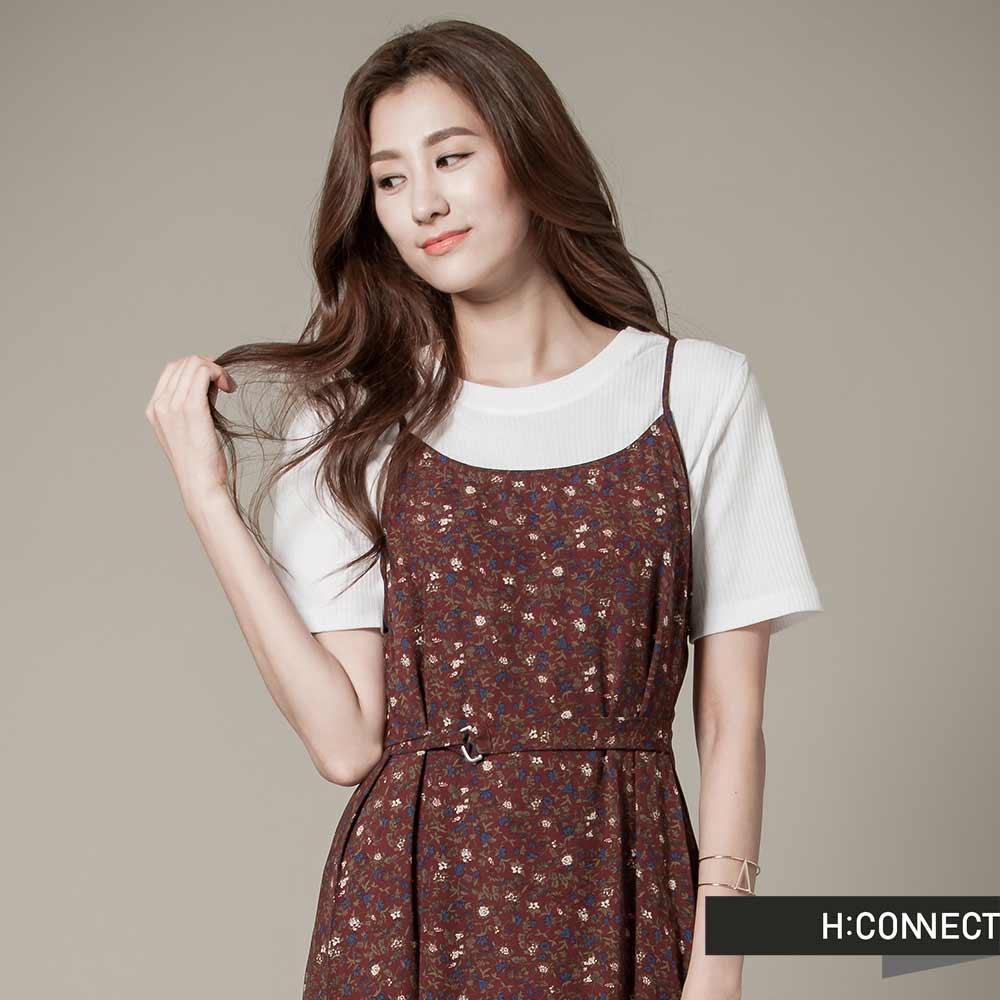 H:CONNECT 韓國品牌 女裝 -碎花細肩帶長洋裝 - 紅
