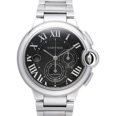 CARTIER 卡地亞 Ballon Bleu 不鏽鋼計時機械腕錶-黑/44mm