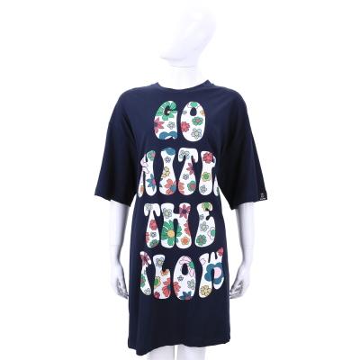 LOVE MOSCHINO 深藍色字母印花五分袖洋裝