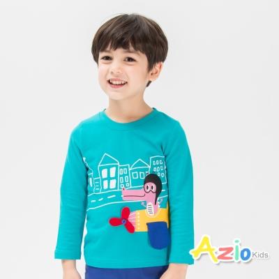 Azio Kids 童裝-上衣 鱷魚開飛機長袖棉T(藍綠)