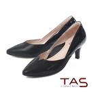 TAS 異材質拼接側v曲線尖頭高跟鞋-璀璨黑