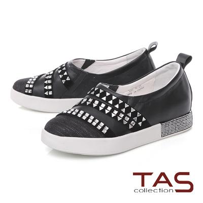 TAS 造型鉚釘拼接水鑽休閒鞋-個性黑