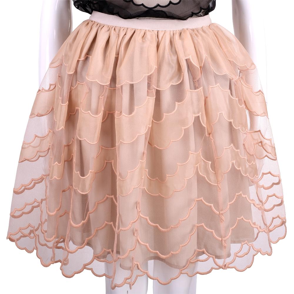 RED VALENTINO 粉膚色波浪網狀設計及膝裙