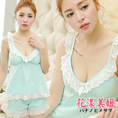 睡衣褲組棉質居家胸墊可拆款布蕾絲襯邊淺藍花漾美姬