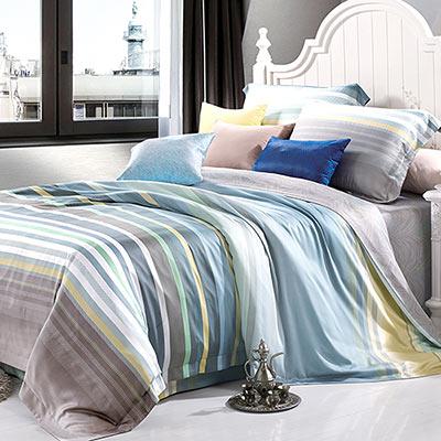 Saint Rose 悠藍夢境 雙人100%純天絲兩用被套床罩八件組