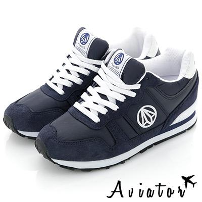 Aviator*韓國品牌-真皮內增高撞色運動鞋-深藍
