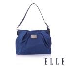 ELLE 法式優雅時尚風貌側背/手提包款 百褶包淑媛設計款 搭配質感頭層皮-寶藍