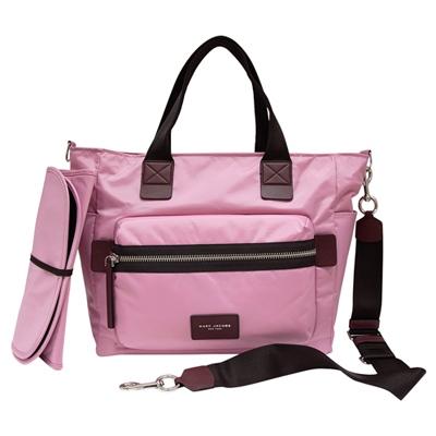 MARC JACOBS尼龍手提肩背斜背媽媽包-粉紅色大附折疊式更換墊