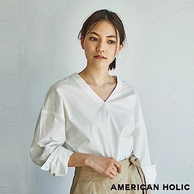 AMERICAN HOLIC 氣質V領剪裁襯衫上衣