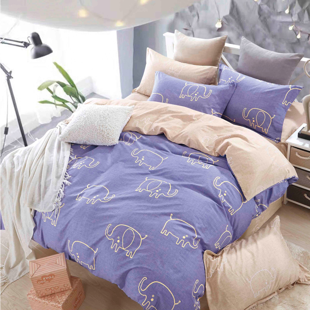 Grace Life 俏皮小象 精梳純棉加大涼被床包四件組