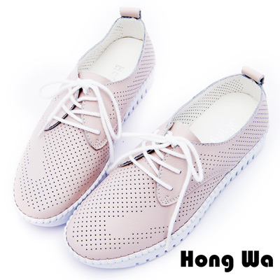 Hong Wa 簡約透氣沖孔休閒綁帶便鞋 - 粉