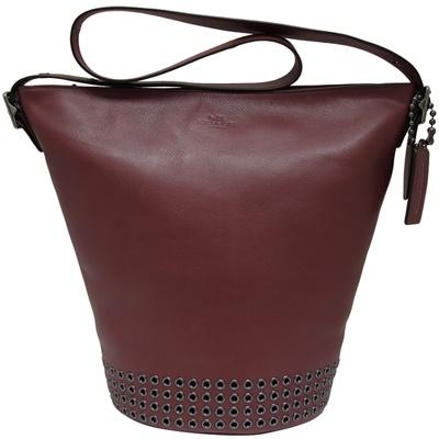 COACH金屬圓環造型全皮革肩背/斜背水桶包-磚紅