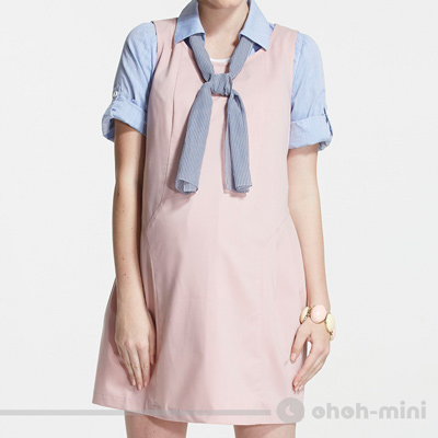 【ohoh-mini 孕婦裝】愛戀輕甜拼接抓摺孕婦背心洋裝