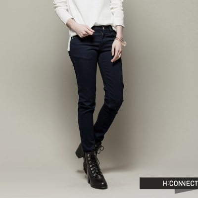 H-CONNECT-韓國品牌-女裝-素面丹寧修身牛仔褲-深藍