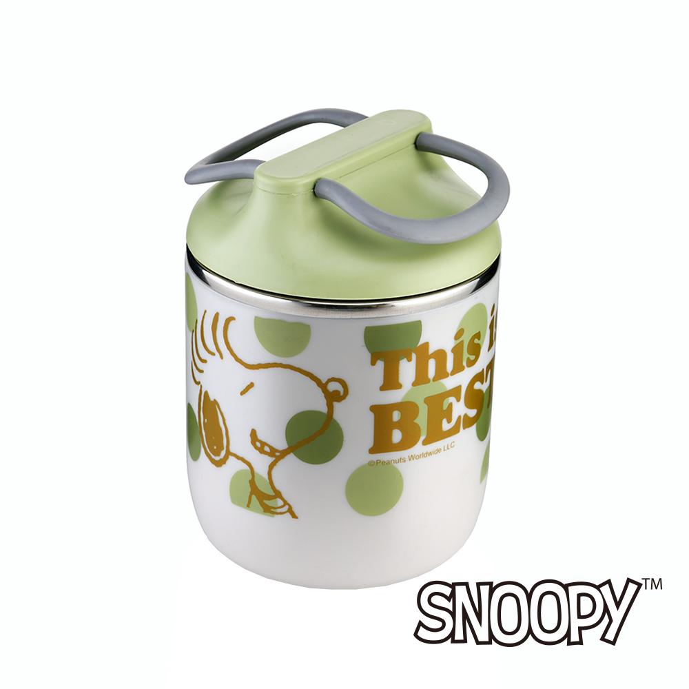 史努比SNOOPY 翠燦軟膠提手304不鏽鋼保溫餐桶890ml (8H)
