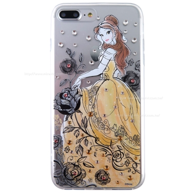 Disney迪士尼iPhone 7 Plus(5.5吋)施華洛世奇水鑽透明雙料保...