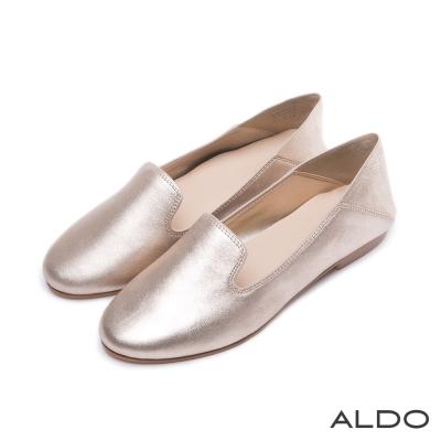 ALDO-閃耀真皮鞋面雙弧流線樂福鞋-耀眼金色