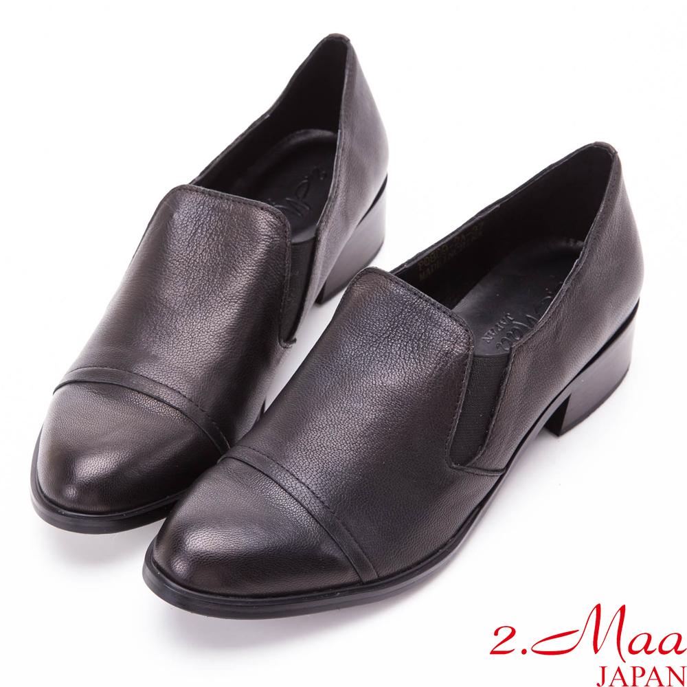 2.Maa-氣質焦點真皮低跟紳士鞋-黑