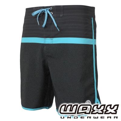 WAXX熱浪系列-藍色風暴拼接快乾型男衝浪褲(18英吋)