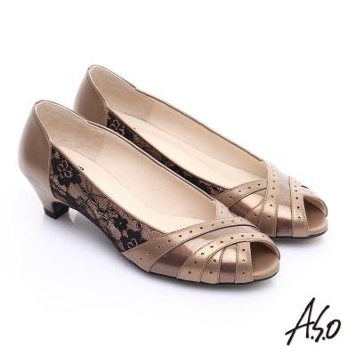 A.S.O. 優雅時尚 全真皮金箔側邊蕾絲中跟魚口鞋 古銅