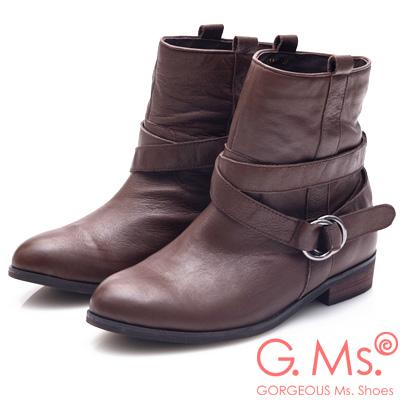 G.Ms. 2WAY活動式皮帶釦環工程短靴-深咖