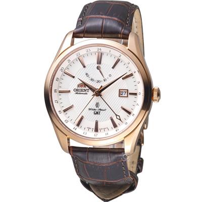 ORIENT 東方錶 GMT系列 雙時區機械錶(SDJ 05001 W)咖啡/ 42 mm
