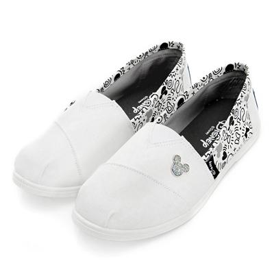 DISNEY 美式塗鴉 米奇亮蔥飾釦懶人鞋-白(女)