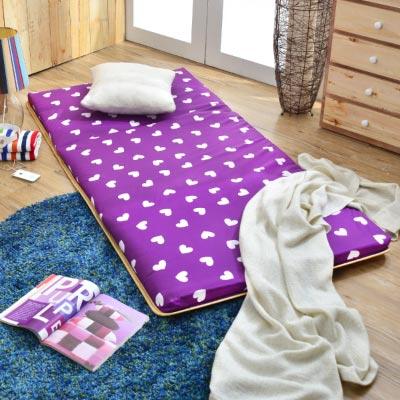 Saint Rose 台灣製 超值 單人透氣兩用便利三摺床墊 繽紛愛心-紫