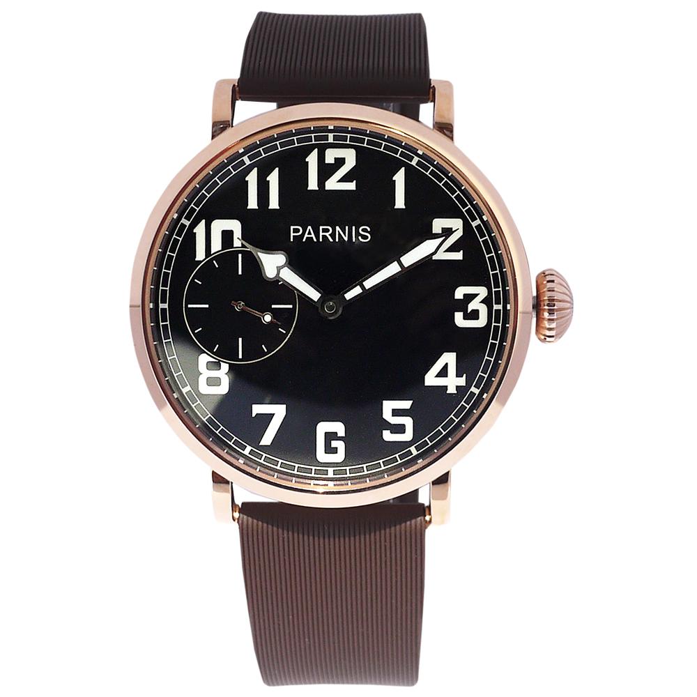 PARNIS 玫瑰金飛行款手上鍊機械錶 矽膠帶 後底蓋鏤空/45mm