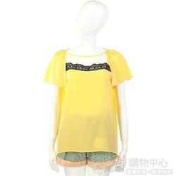 San Andres 黃色蕾絲飾短袖上衣